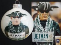 "Robert ""Jetman"" Fulmer painted on Christmas ornament.  Client quotes: ""I wanted to find a unique Christmas gift for my client and good friend Rob who is the New York Jets # 1 Fan! When I came across your website and saw how amazing your work was I knew that this was the perfect gift! I wish I had captured the expression on his face he loved it!""  Aimee' M. Corkern,Boston,  Ma"