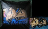 Have your pets painted on faux leather pillow.  Great addition to any family room.  $110.00 plus $15.00 shipping.