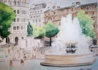 Watercolor: London Trafalgar Square Fountain - 2007 SOLD - Dallas Anatole Hilton - Margaret Thatcher Suite - Bathroom