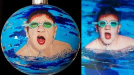 Swimmer's Portrait painted on Christmas ornament