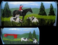 Fox Hunter with Hounds painted on a Standard T1 Size mailbox.  US Postmaster General Approved.  Ready to have your Name/Address added.  The mailbox will then be sealed with several coats of polyurethane to withstand the elements.  $190.00 plus $30.00 shipping