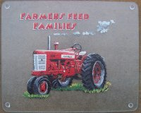 "1957 Antique Farmall Tractor Portrait Painted on 12x15"" Glass Cutting Board.