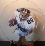 "Custom football gifts.  Sports portraits painted.  Heath Miller 13"" glass platter painted on reverse side for food safe use.  Custom orders accepted.  $75.00 plus $12.00 shipping"