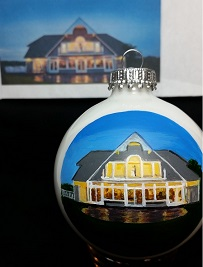 Guilford Yacht Club Christmas Ornament Portrait for the Bride and Groom was a lovely gift from my client, True Events, who is a wedding planner in New England.