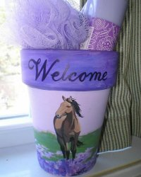"Horse painted in hyacinths on 4"" Clay pot.  Makes a wonderful addition to a bathroom.  Text may be requested.  Additional colors available.  $52.50 plus $6.00 shipping"