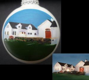 "Jonathan Edwards Winery portrait painted on 2 5/8"" Christmas ball as custom wedding gift"