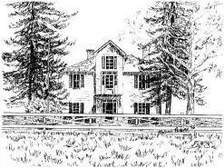Custom Pen & Ink House Portrait created for invitations celebrating the 150th Anniversary of the old school house, Nether Mills