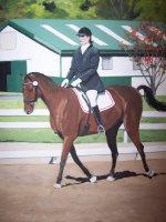 Equestrian portrait painted on canvas.  Send in photos of your horse for custom painted equestrian portraits.