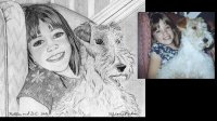 Wire haired Fox Terrier pet and child portrait illustrated on 8x10 watercolor paper in pen&ink.