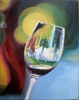 """Patio Lights"" - Wine Art Print is Beautiful capturing vivid light reflections on the glass and wine.  You will find yourself staring at this print forever!  22x26"" Wrapped Canvas on Stretcher Frame is Ready to Hang."