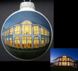 "Pine Orchard Yacht & Country Club wedding reception painted on 2 5/8"" Christmas ornament"