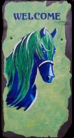 "Abstract Blue & Green Horse Welcome Sign on 8x16"" slate.  SEaled for outdoor use.  Leather strap included.  Name included on bottom of sign.  Other colors available upon request.  $80.00 plus $15.00 shipping"