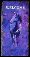 "Abstract Purple Horse Welcome Sign on 8x16"" slate.  Sealed of outdoor use.  Leather strap included.  Name included on bottom of sign.  Other colors available upon request.  $80.00 plus $15.00 shipping"