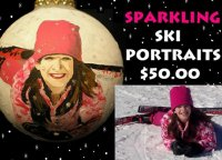 Children's Ski portraits painted on Christmas ornaments are adorable keepsakes.  Sparkling with glitter for added effect!  Personalized on the back with your child and the resort's name and year.