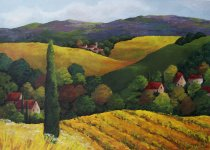 Acrylic Painting - Tuscan Landscape series- Crate&Barrel proposal