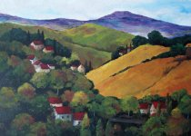Acrylic painting - Tuscan landscape series- Crate&Barrel proposal.