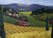 Acrylic Painting -Tuscan landscape series- Crate&Barrel proposal.