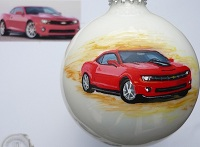 "Callaway Camaro handpainted on 3 1/4"" Christmas ornament."
