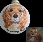 Cocker Spaniel pet portait painted on Christmas Ornament