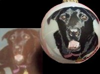 Black Lab portrait painted on Christmas Ornament 