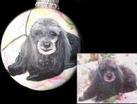 Poodle pet portrait painted on Christmas Ornament