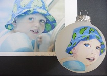 Children's painted portraits on ornaments