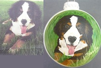 Dog portraits painted on ornaments