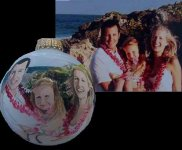 Hawaiian Wedding Portrait painted on Christmas Ornament Send in Your Wedding Photos!