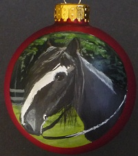 Horse pet portraits painted on ornaments