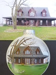 House portraits painted on ornaments