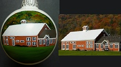 Hand painted portrait of Riverside Farm, VT Barn given to Bride & Groom as wedding gift
