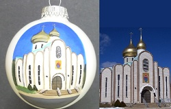 St. Mary's Orthodox Church, Waterbury CT painted on Christmas ball for wedding gift